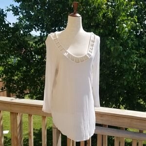 Maurices White Cut Out Neck Tee
